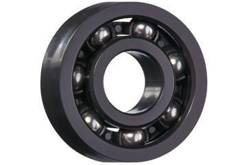 xiros® radial deep groove ball bearing, xirodur F180, stainless steel balls, cage made of PA, mm