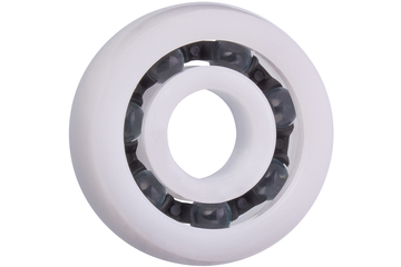 xiros® radial deep groove ball bearing, spherical outer diameter, xirodur B180, glass balls, cage made of PA, mm